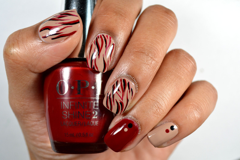 Abstract Lines nail art by Fatimah