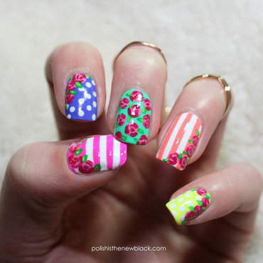 Bright Floral Mix and Match nail art by Polishisthenewblack