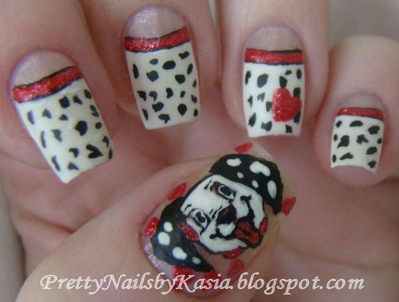 101 Dalmatians nail art by Pretty Nails by Kasia