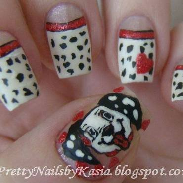 101 Dalmatians nail art by Pretty Nails by Kasia