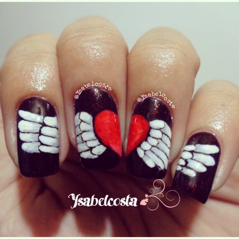 Heart with wings nail art by Katrina Ysabel Costa