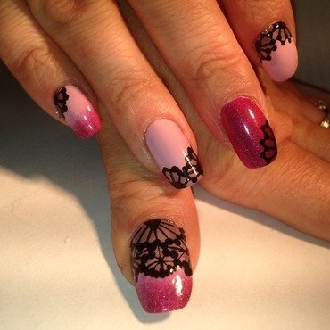 Pink Laces nail art by Eleadora