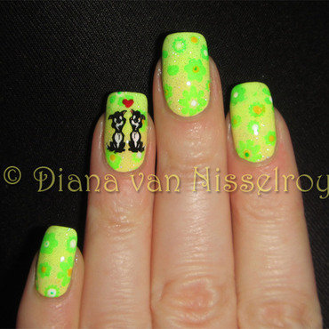 Spring time...doggies in love heart-emoticon nail art by Diana van Nisselroy