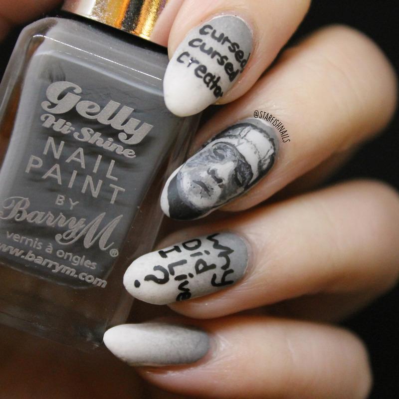 Frankenstein nail art by Lisa Yabsley