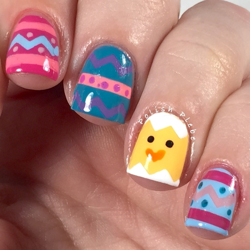 Painted Easter Eggs and Chick nail art by Crystal Bond