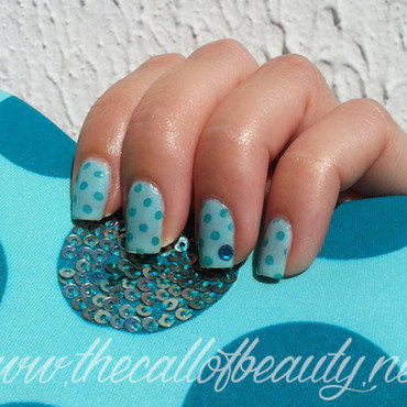 Tiffany Polka Dots nail art by The Call of Beauty