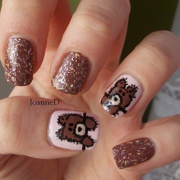 Teddy Bear nail art by JoanneD