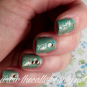Mint and golden stamping nail art by The Call of Beauty