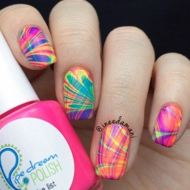 Double Rainbow Watermarble nail art by Carmen Ineedamani