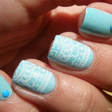 Holo stamping nail art by Michelle Mullett