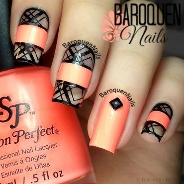 Neon Negative Space nail art by BaroquenNails