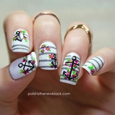 Nautical Nails nail art by Polishisthenewblack