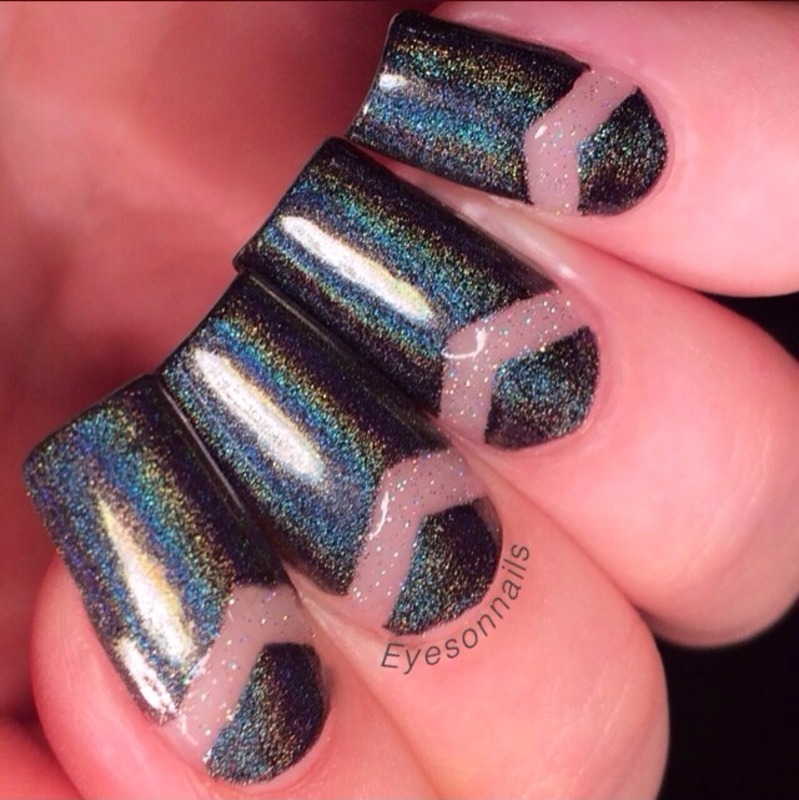 Negative space and holo  nail art by Virginia