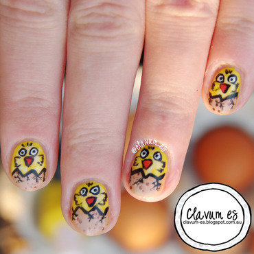 Easter Chickens nail art by Melissa (Clavum Es)