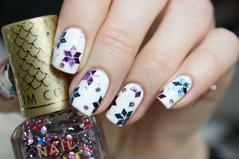 Glitter snowflakes nail art by Jen from polished-with-love