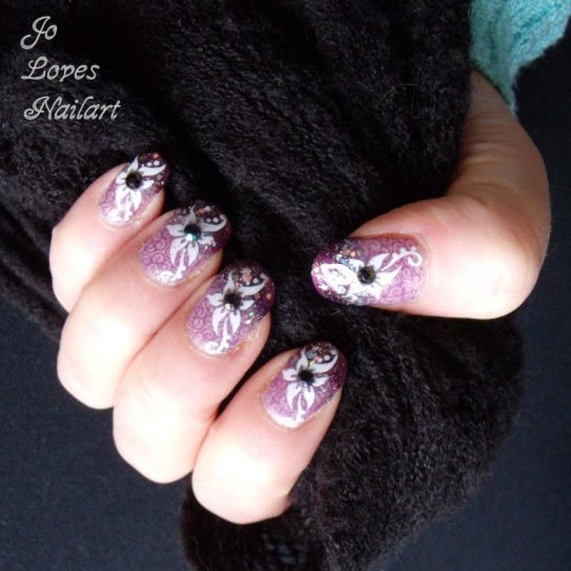 Purple swirl with flower nail art by JolovesNailArt