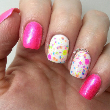 Neon glitter nail art by Lindsay