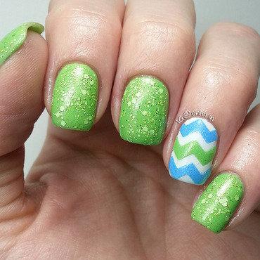 Green and blue nail art by Lindsay