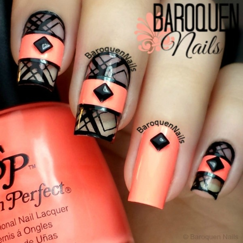 Neon Negative Space II nail art by BaroquenNails