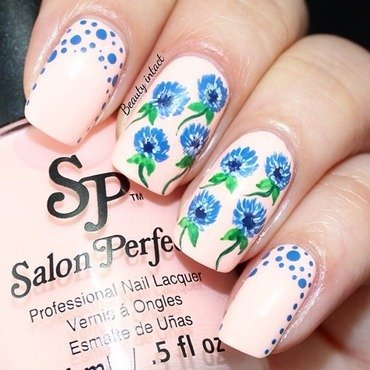 Sparkle floral nail art nail art by Beauty Intact