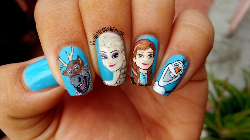 Frozen movie nail art by Selena  Lopez