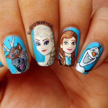 Frozen movie nail art by Selena  Lopez