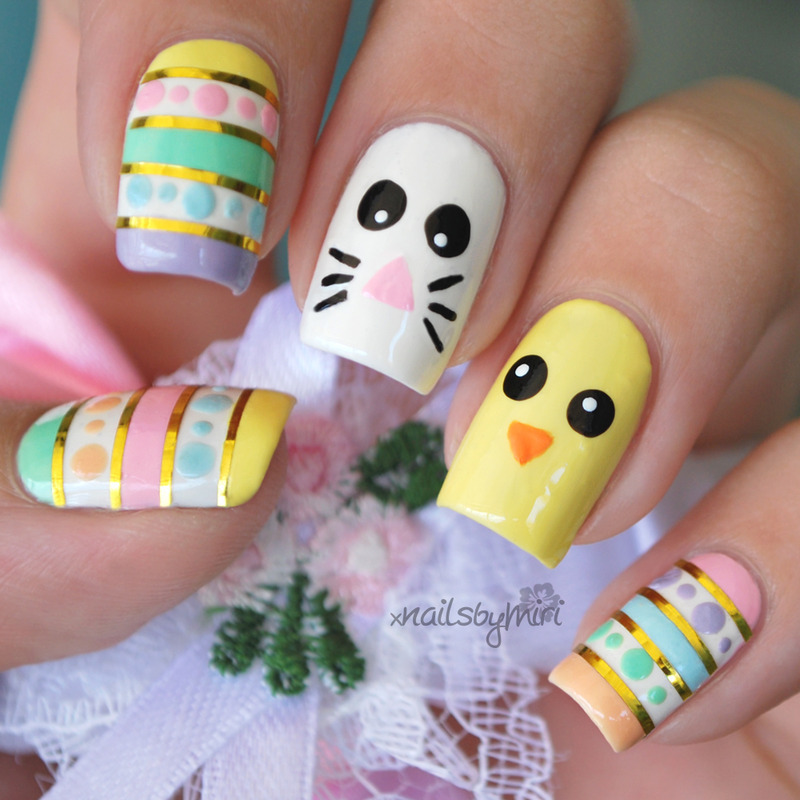 Easter Nails nail art by xNailsByMiri