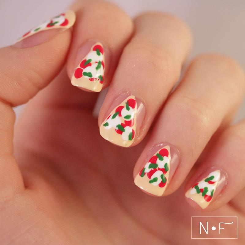 Pizza nail art by NerdyFleurty - Nailpolis: Museum of Nail Art