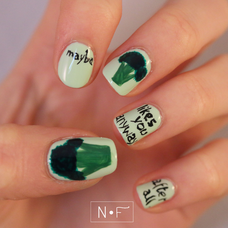 Maybe broccoli likes you anyway, after all nail art by NerdyFleurty