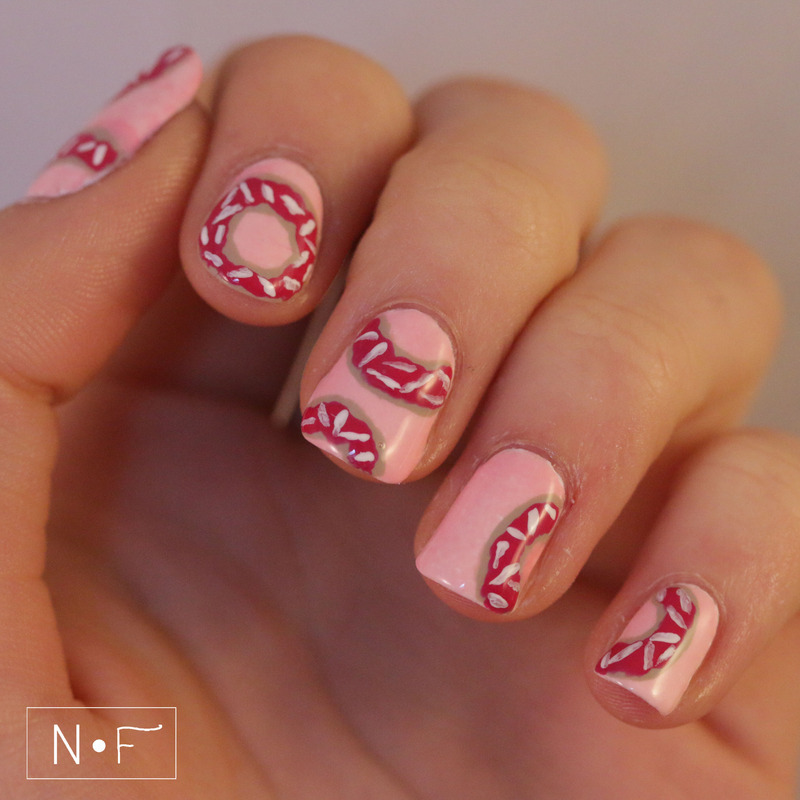 Go nuts with donuts nail art by NerdyFleurty
