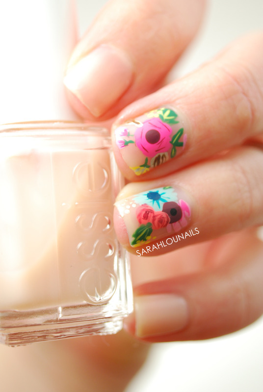 Nude Floral Accent Nails! nail art by Sarah S