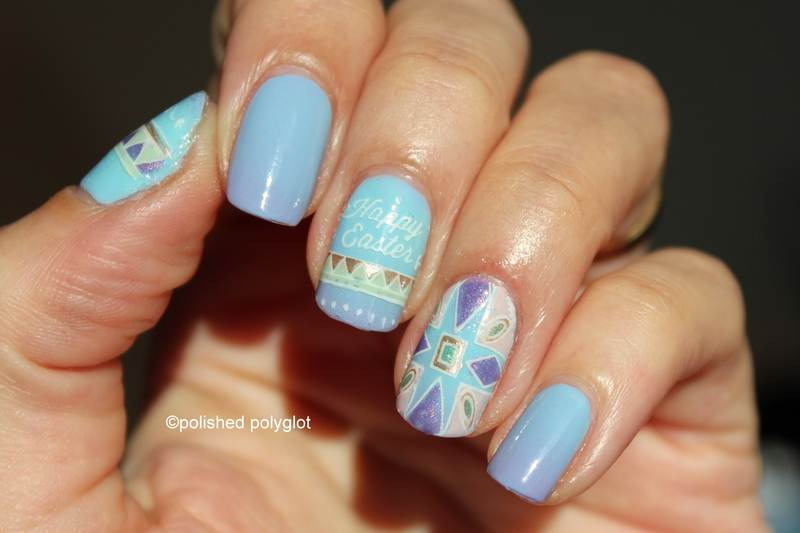 Easter inspired manicure nail art by Polished Polyglot