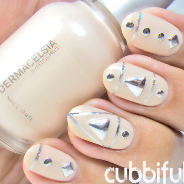 Nude Nails And Silver Studs nail art by Cubbiful
