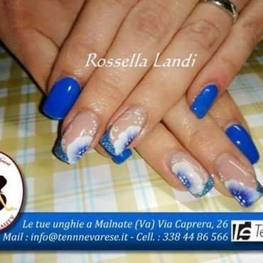 French blue nail art by Rossella Landi