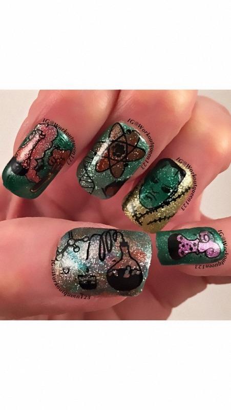 Frankestein  nail art by Workoutqueen123