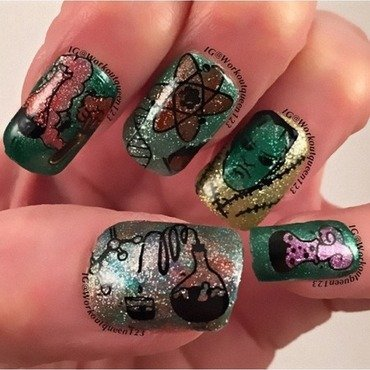 Frankestein  nail art by Workoutqueen123