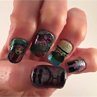 Around the world in 80 Days nail art by Workoutqueen123