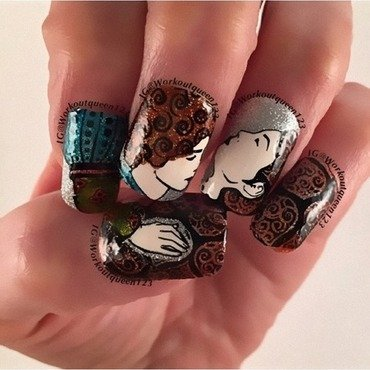 Romeo & Juliet  nail art by Workoutqueen123