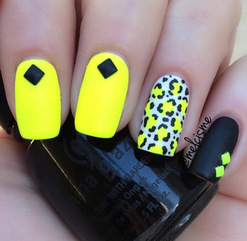 Neon X Matte X Leopard Print nail art by Melissa - Nailpolis: Museum ...