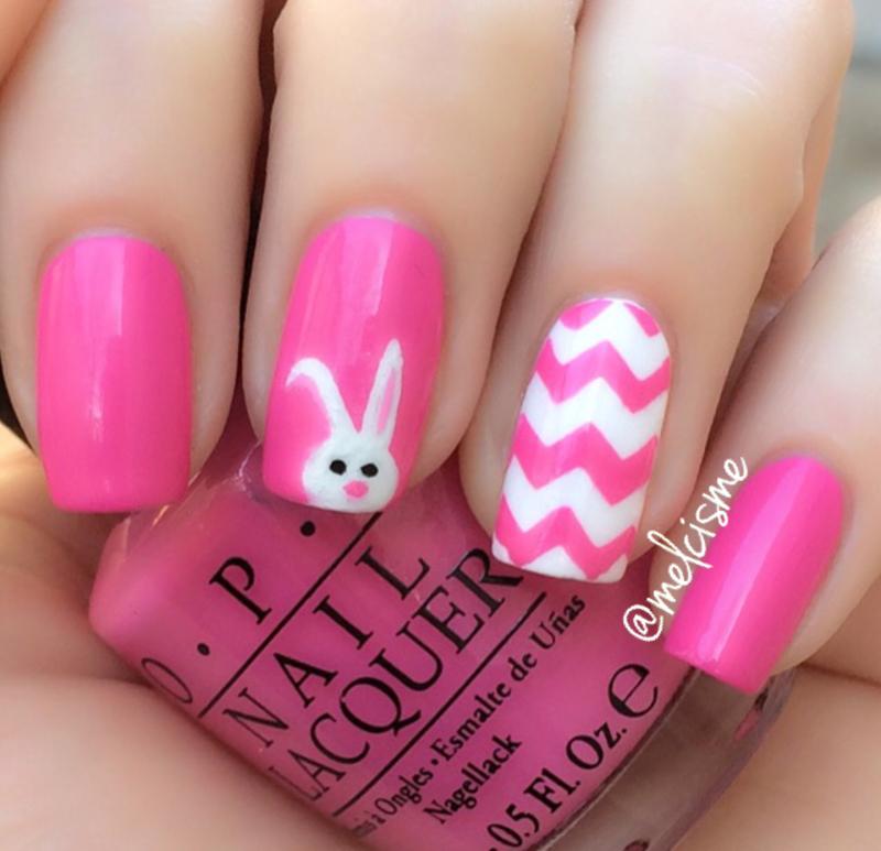 Lil bunny nail art by Melissa - Nailpolis: Museum of Nail Art
