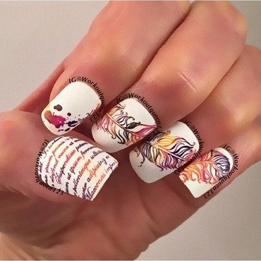 Feathers nail art by Workoutqueen123
