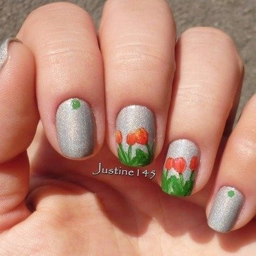 tulips nail art by Justine145
