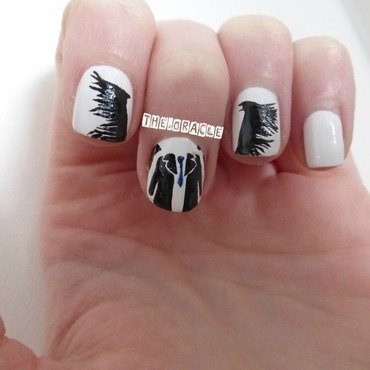 Castiel Silhouette nail art by The_Oracle