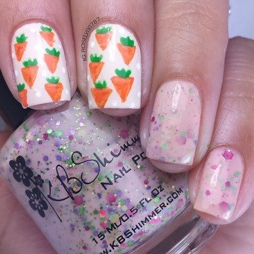 Easter Carrot Pattern nail art by Rose Mercedes