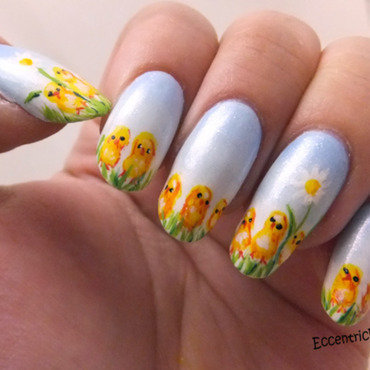 Easter Chickies nail art by Kelly