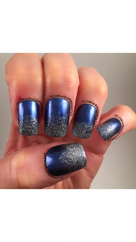 Glitter and blue nail art by Workoutqueen123