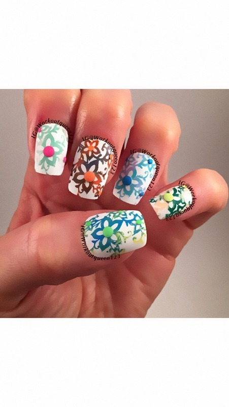 Spring Flowers nail art by Workoutqueen123