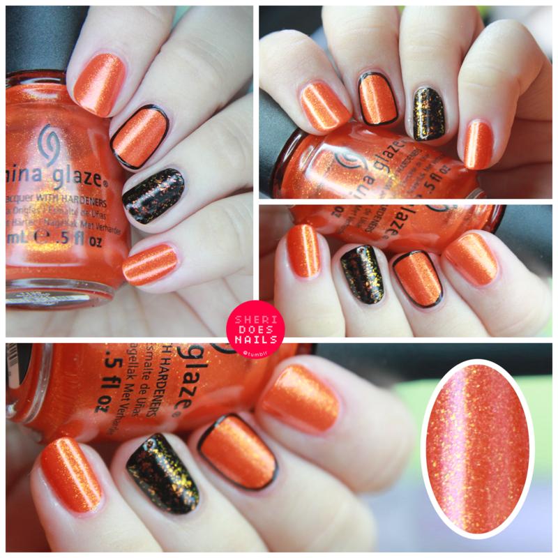 Orange Sparkle nail art by moon doggo