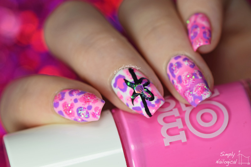 Obnoxiously pink leopard nails nail art by simplynailogical