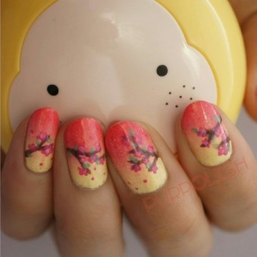 Sunset Cherry Blossoms nail art by purpolish